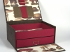 Faux Leather Box w Drawer Open