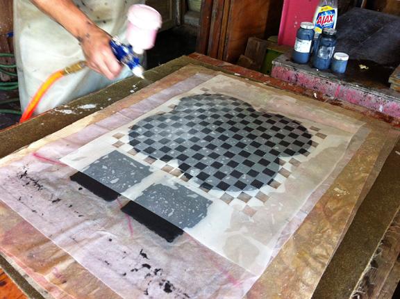 4 sprayed pulp through a stencil