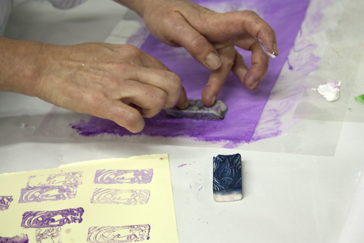 a stamp being used to get great designs in the paste