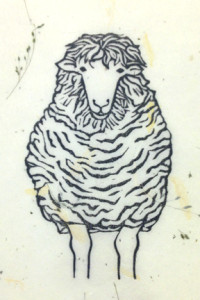 sheep linocut proof